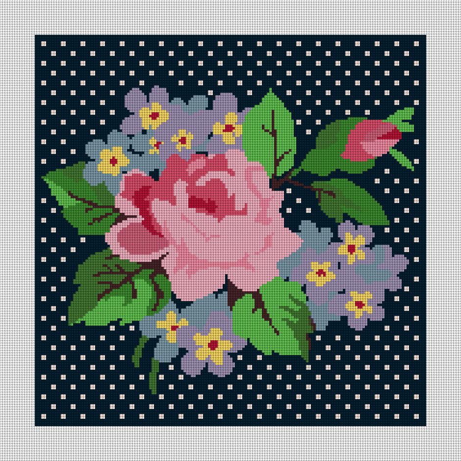 Modern Rose Needlepoint Kit