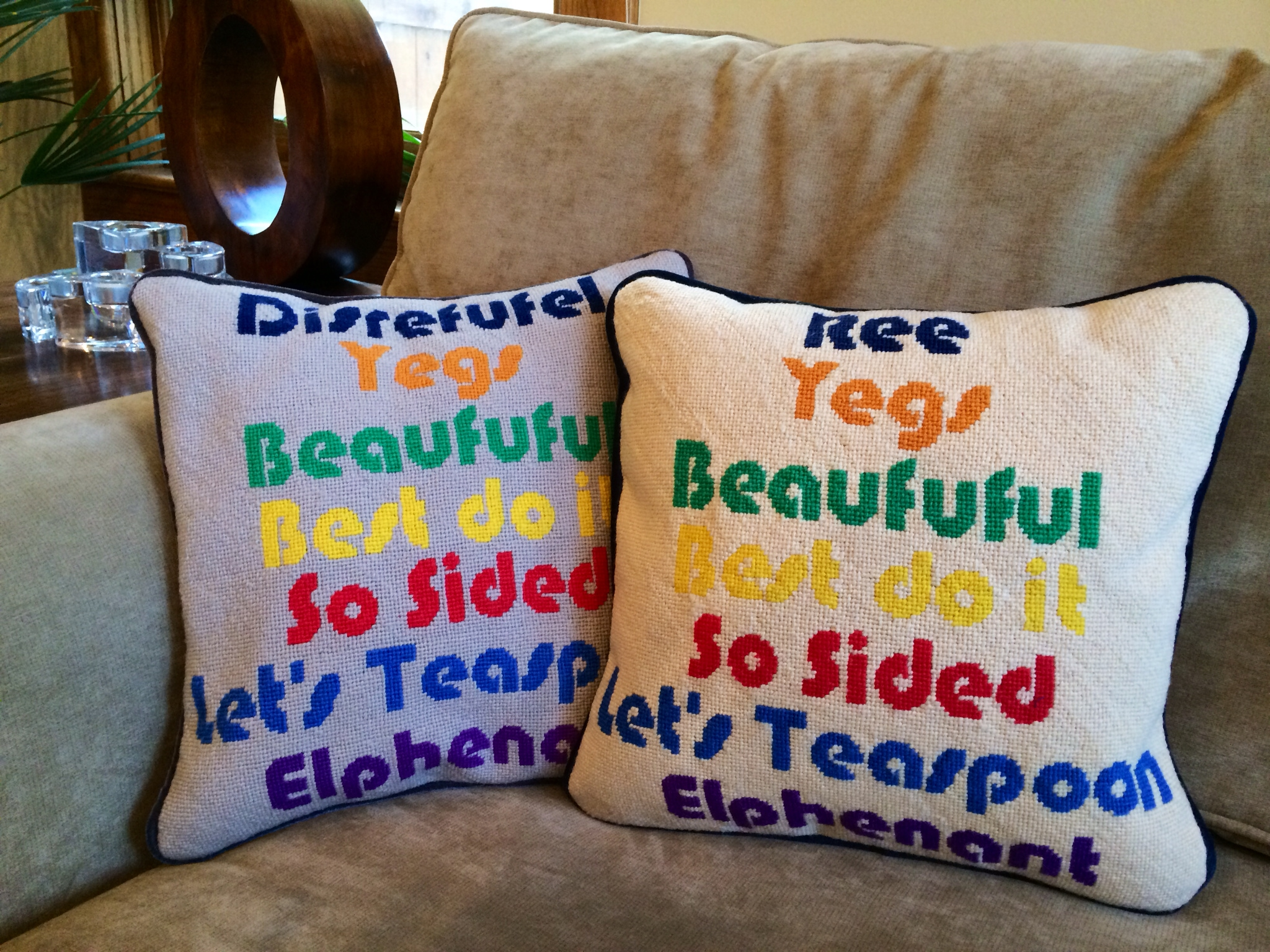 Custom Kids Needlepoint Word Pillows