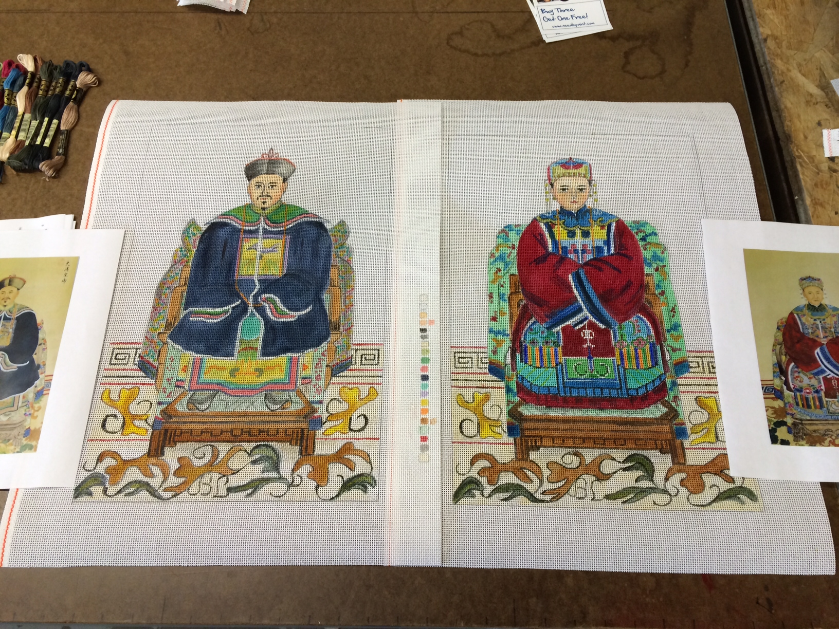 Handpainted Needlepoint Chinese Emperor and Empress