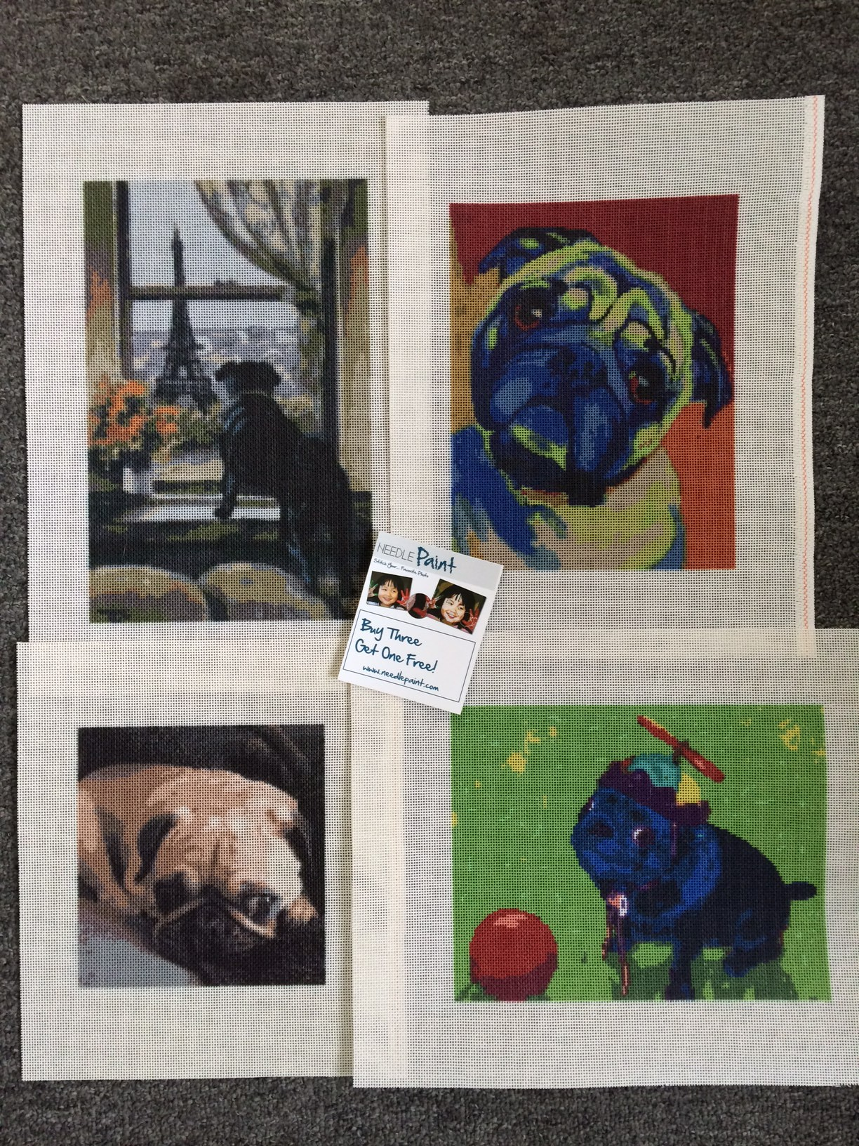 Pug Needlepoint Canvases