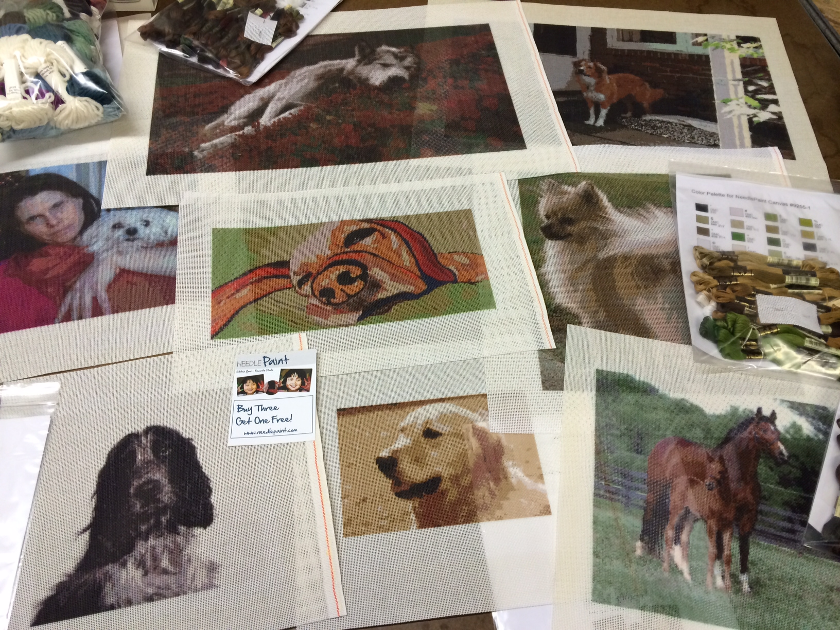Custom Dog Needlepoint Canvases from Photos
