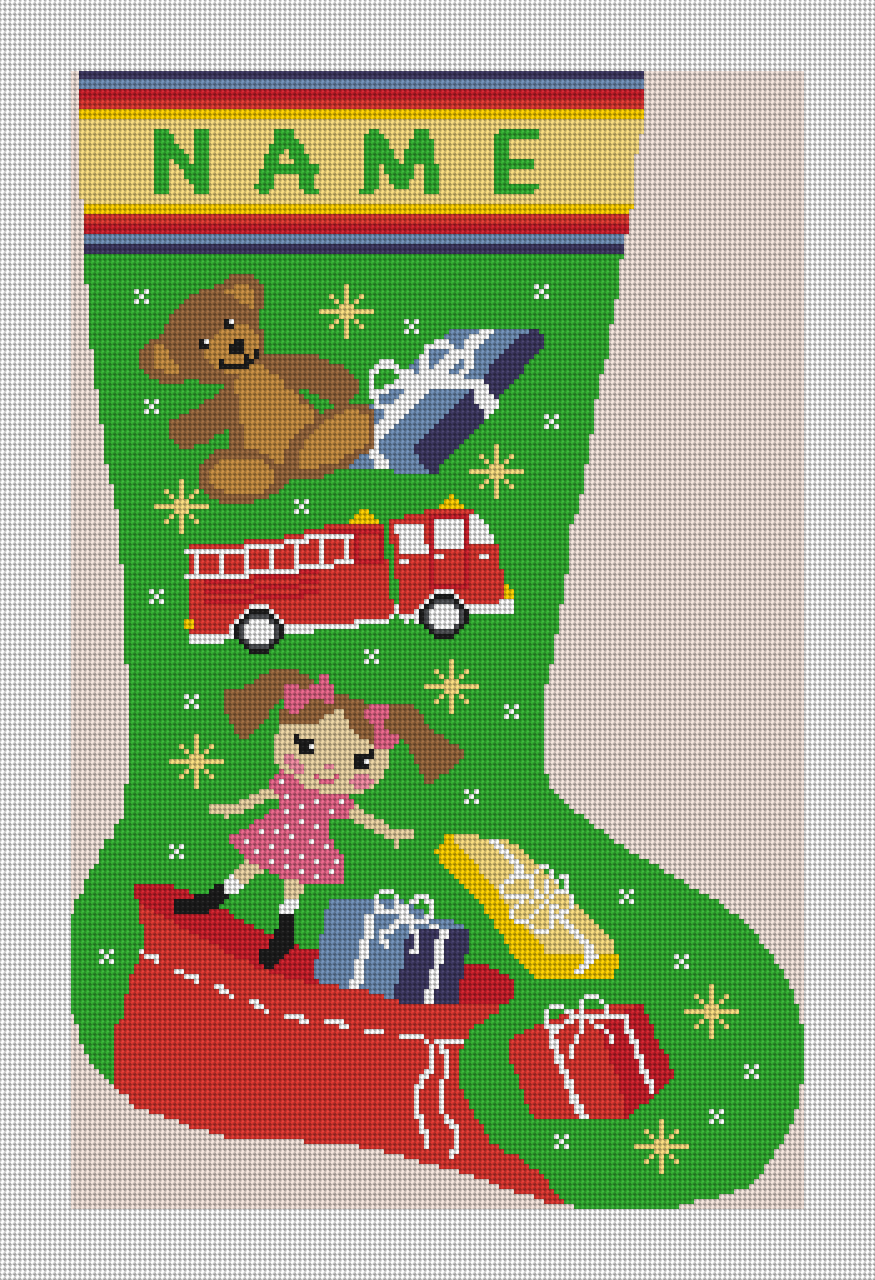 Holiday Magic Needlepoint Stocking Canvas