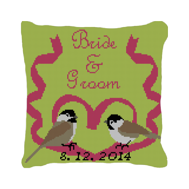 Love Birds Custom Wedding Ring Needlepoint Pillow