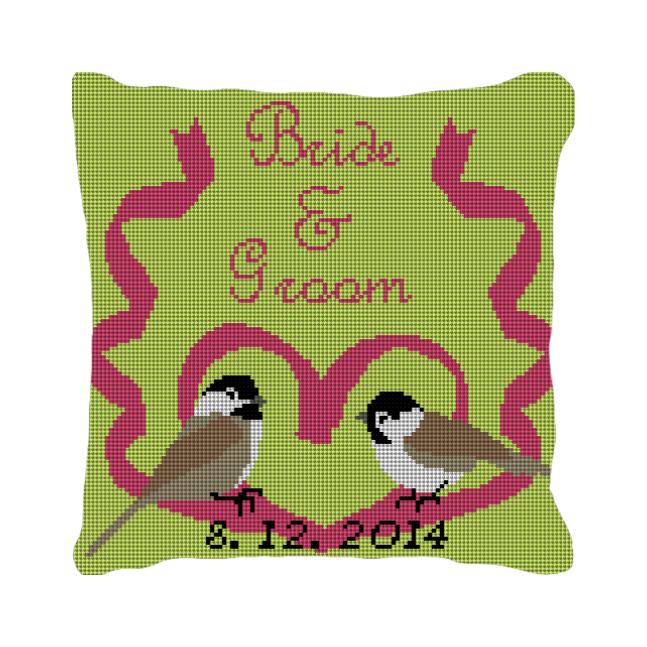 Love Birds Custom Wedding Ring Needlepoint Pillow