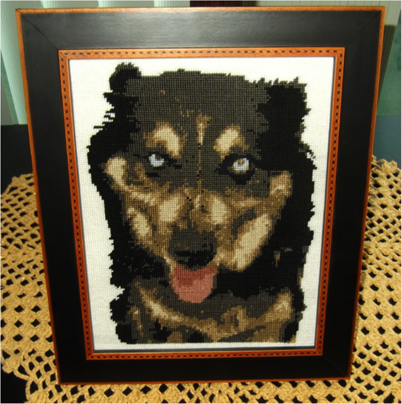 Spud a Custom Dog Needlepoint Project Stitched by Dorothy