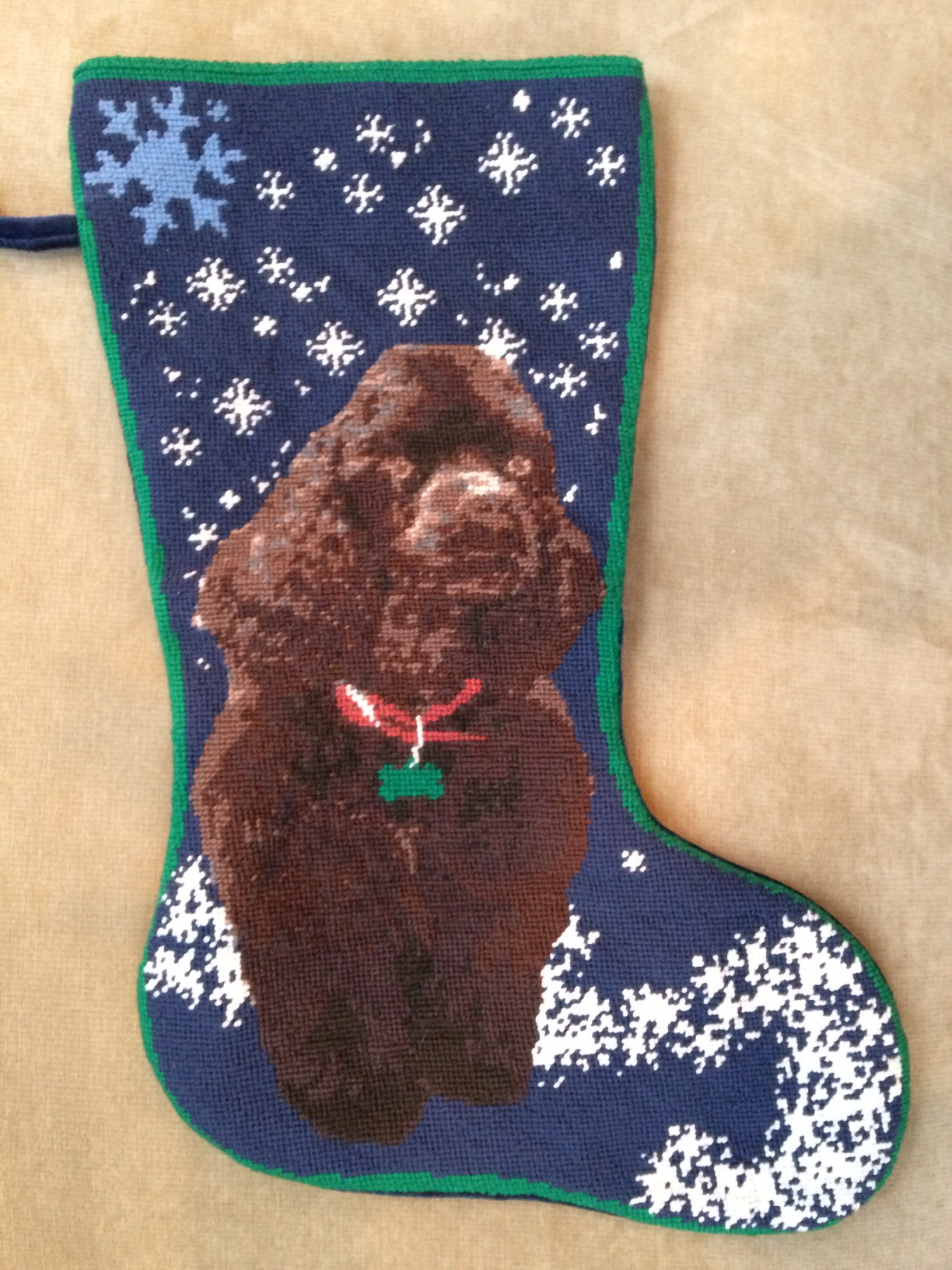 Custom Blue Snowy Needlepoint Stocking with Dog