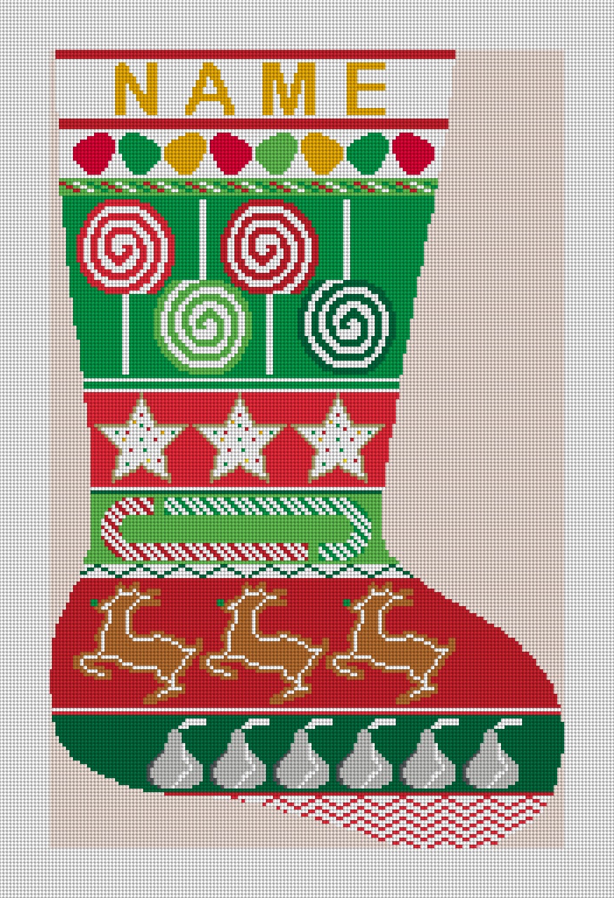 LOLLIPOP MIXED TREATS STOCKING NEEDLEPOINT KIT