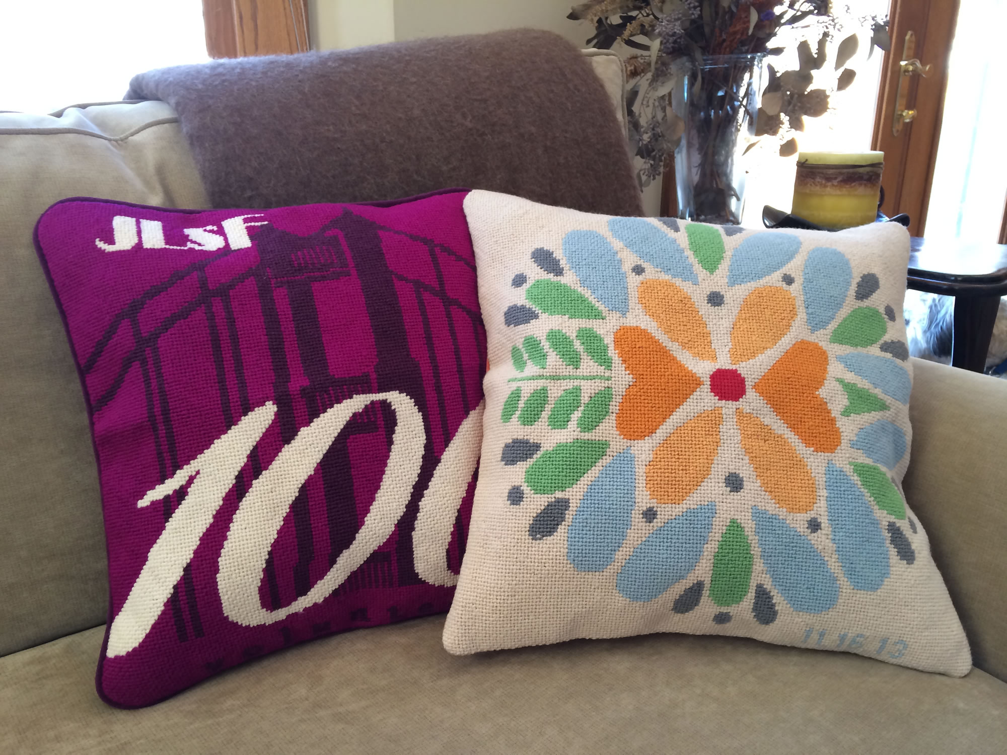 pillow pic lane f mercy burgundy pillows bouquet pair maude wool vintage needlepoint item ruby