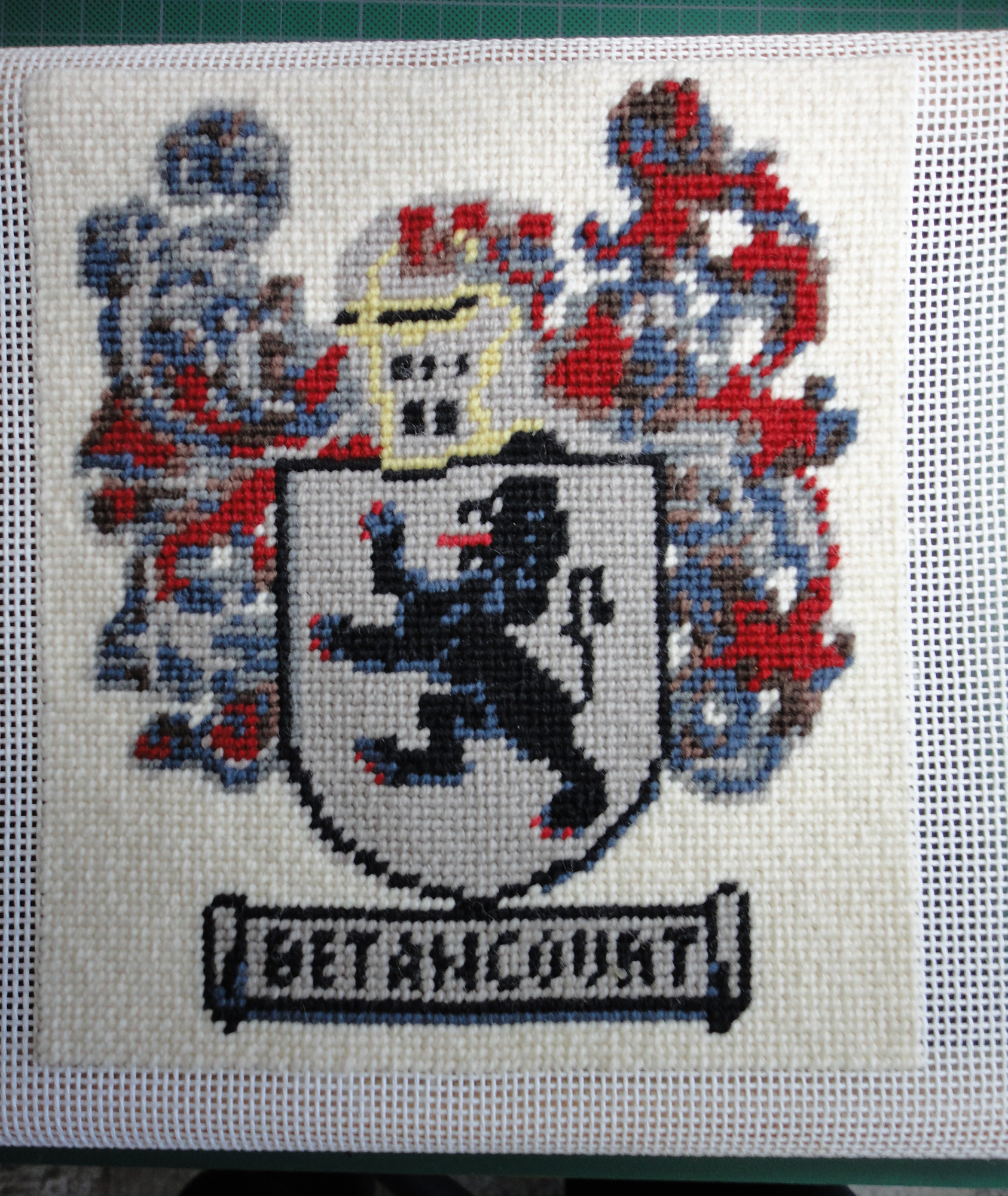 Betancourt Needlepoint Coat of Arms