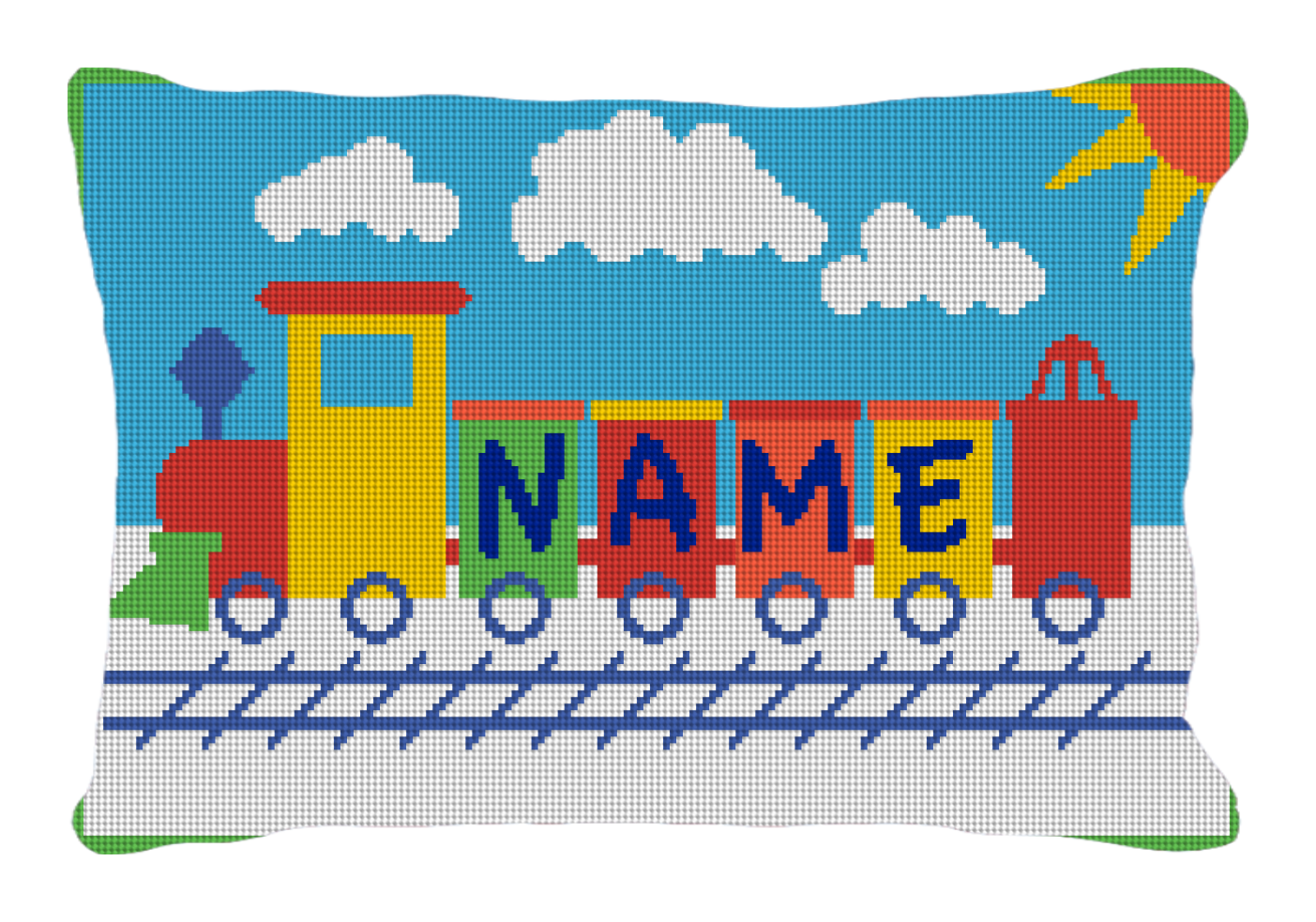 KIDS TRAIN PERSONALIZED NEEDLEPOINT PILLOW