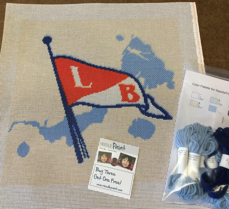 Lake Beulah Yacht Club Pillow Needlepoint Kit