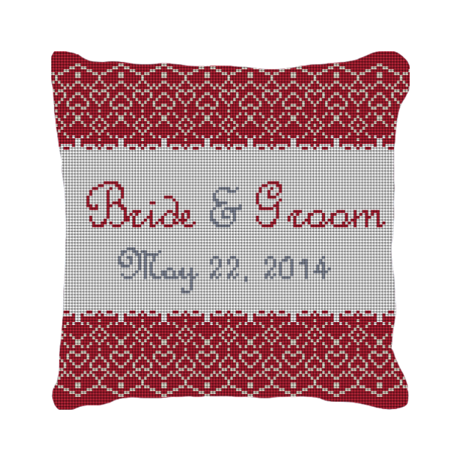 Red Lace Personalzied Wedding Ring Bearer Pillow