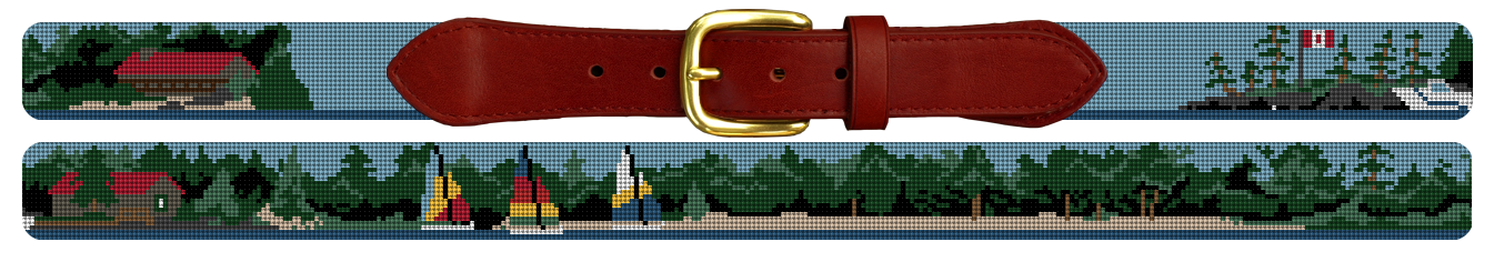 Custom Landscape Scene Needlepoint Belt