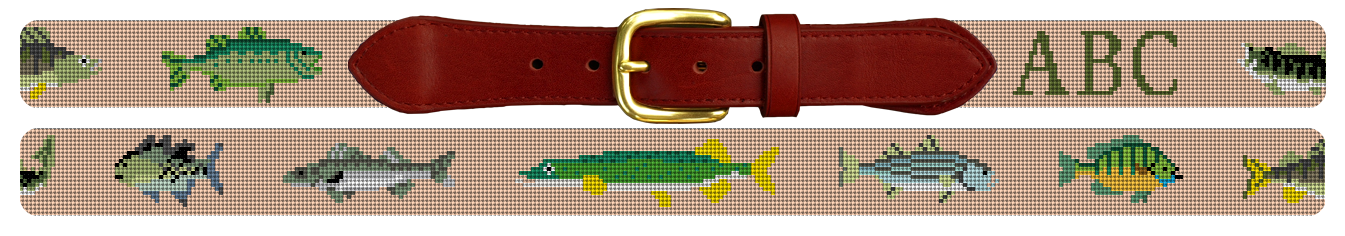 Freshwater Fish Needlepoint Belt