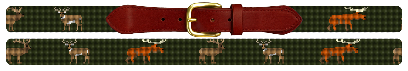 Big Game Profile Hunting Needlepoint Belt