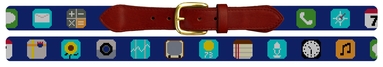 Classic Phone App Needlepoint Belt for Tech Lovers
