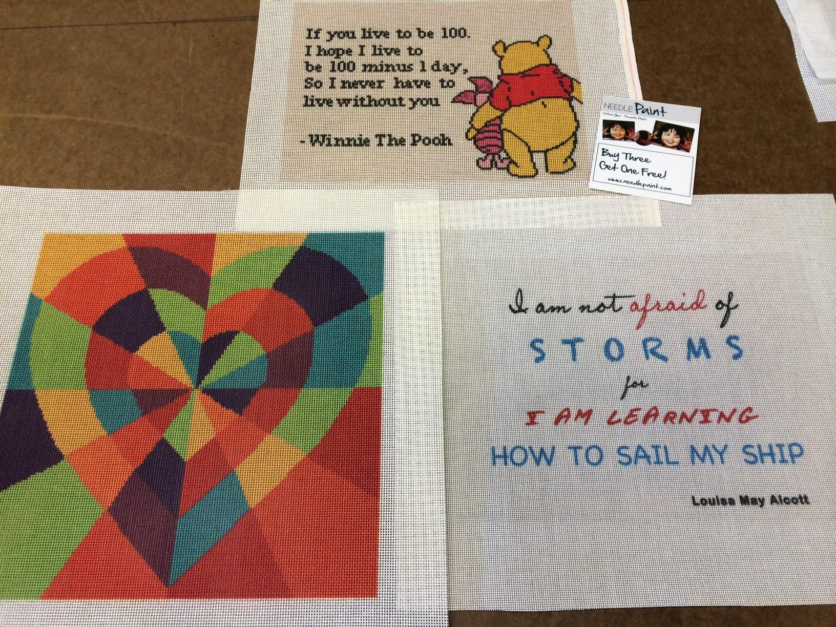 Fun Needlepoint Winnie the Pooh Heart Not Afraid of Storms Alcott