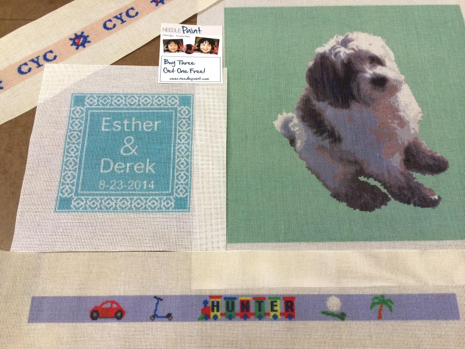 Kids Belt Dog Needlepoint and Wedding Pillow Needlepoint Canvas