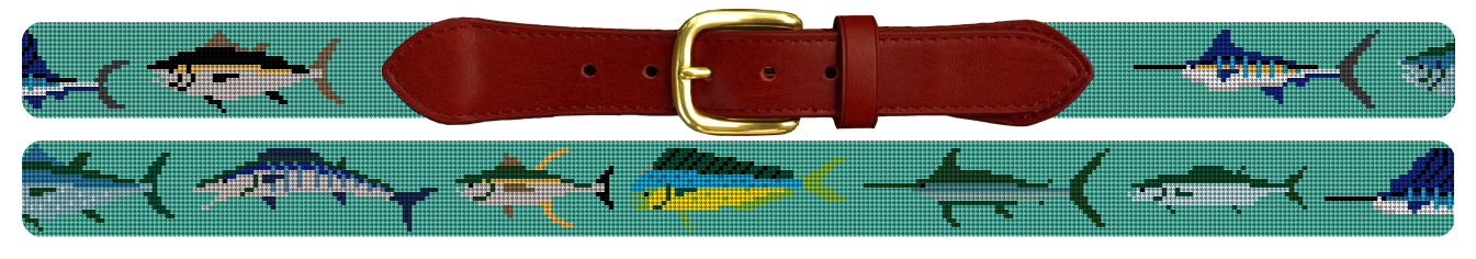 Tropical Gamefish Needlepoint Belt