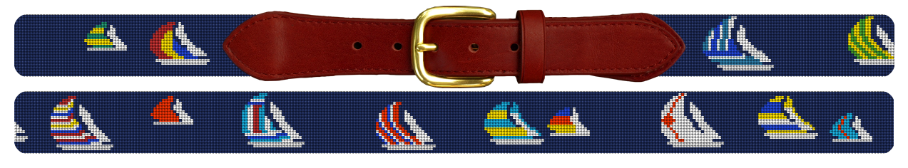 Preppy Sailing Regatta Needlepoint Belt