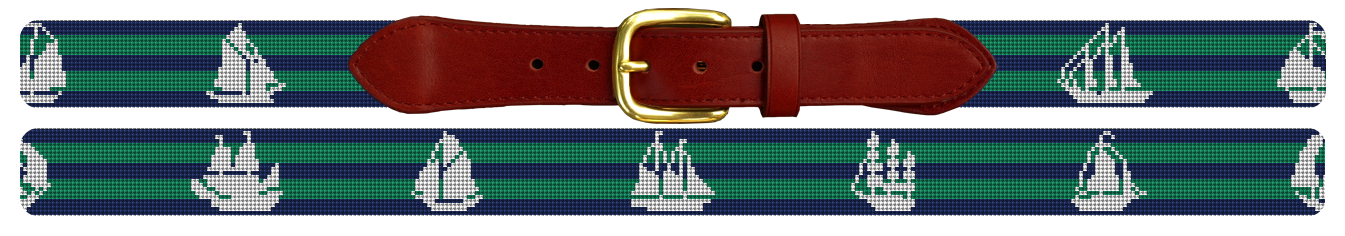 Tall Ship Needlepoint Belt