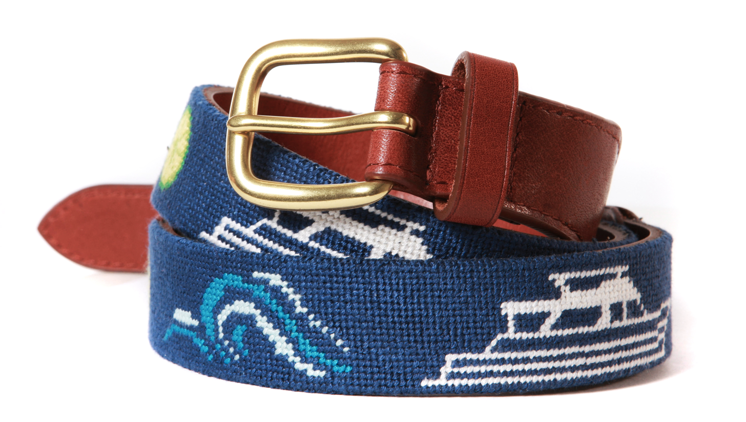 Custom Yachting Needlepoint Belt