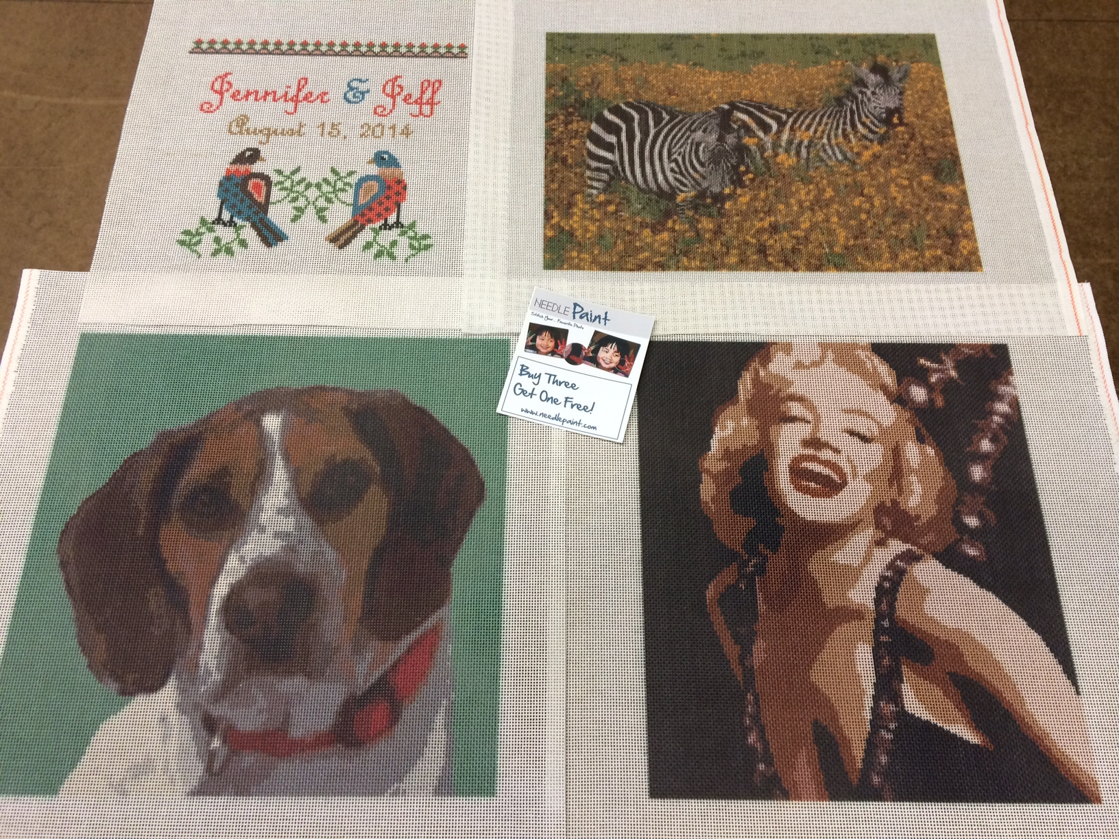 Custom Needlepoint Canvases: Marilyn, Dog, Zebra, and Dove Love