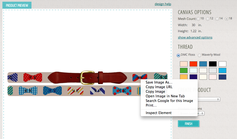 Right click on the image to save your belt design.