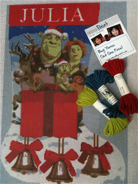 Shrek Needlepoint Stocking