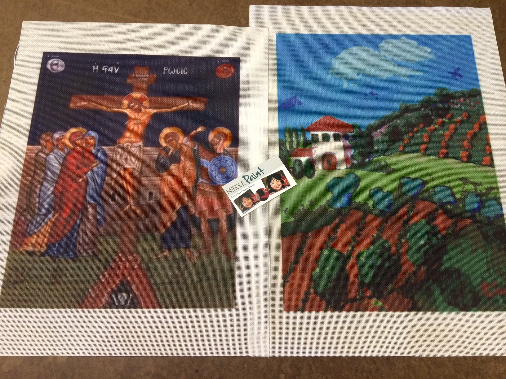 Christian Art and Tuscan Countryside Needlepoint