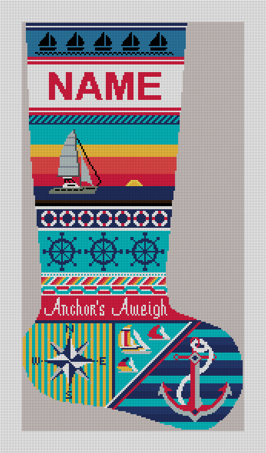 Anchors Aweigh Sailing Christmas Needlepoint Kit