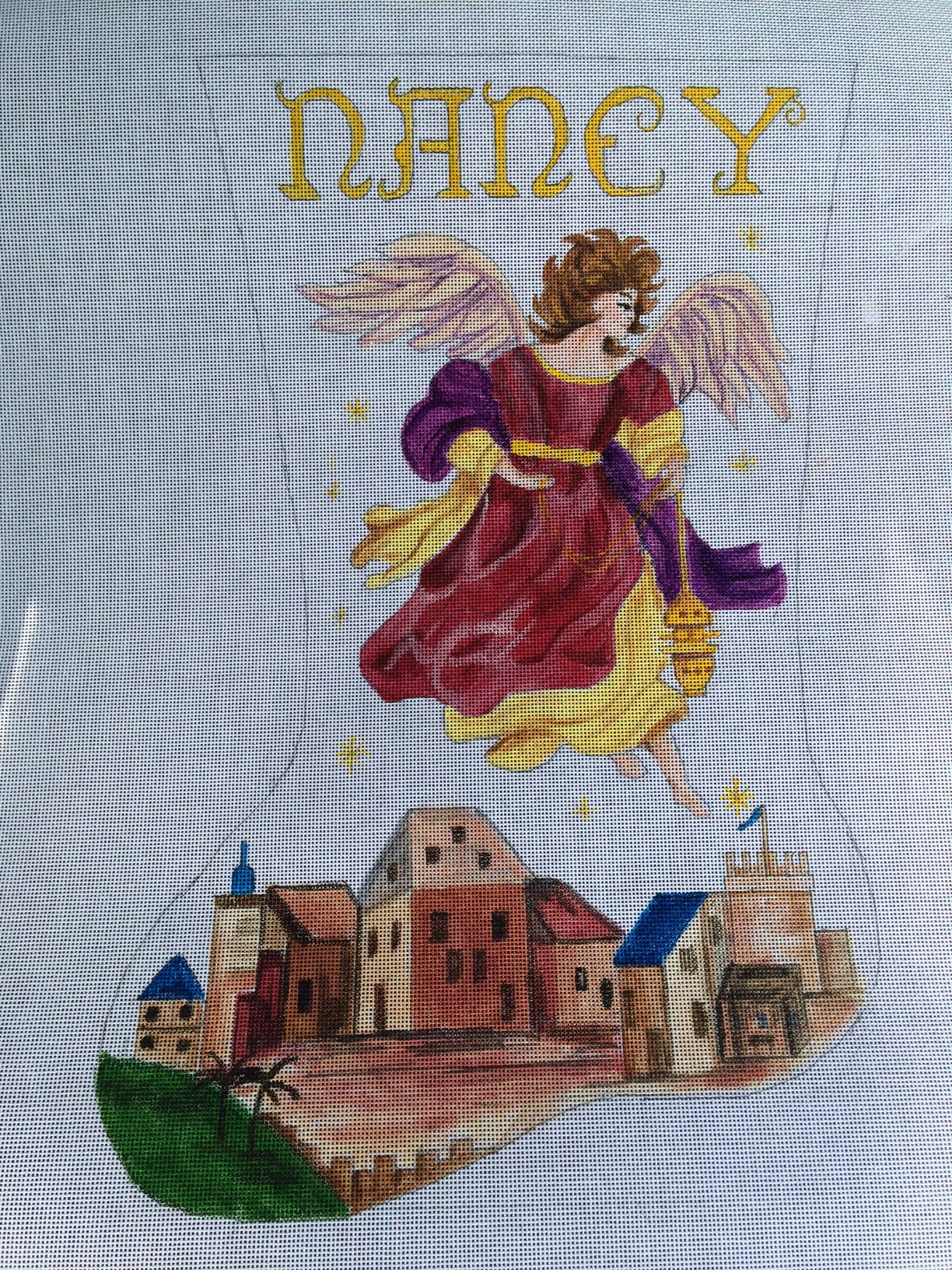 Angel Hand Painted Needlepoint Christmas Stocking Canvas