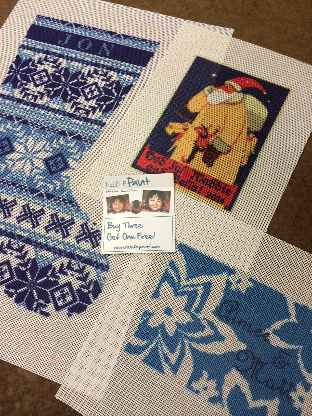 christmas stocking and vintage santa needlepoint canvases