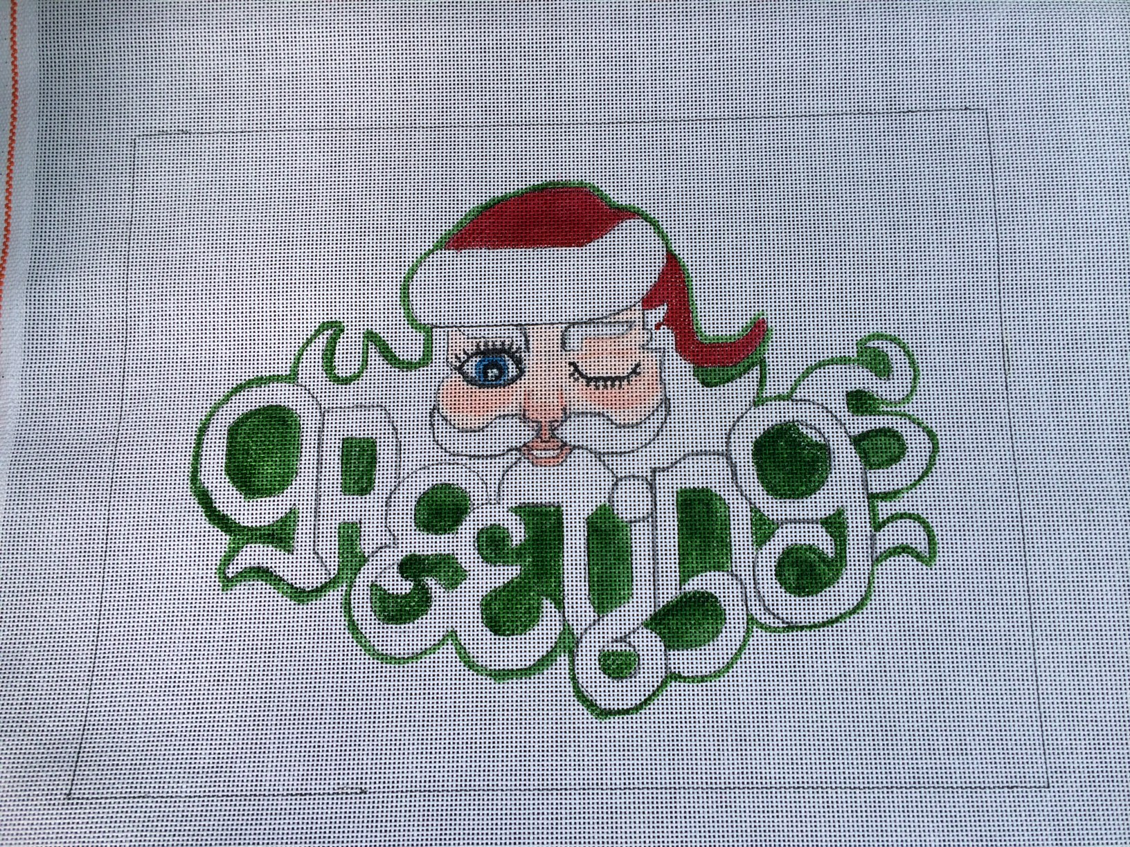 Greetings Santa HandPainted Needlepoint Canvas