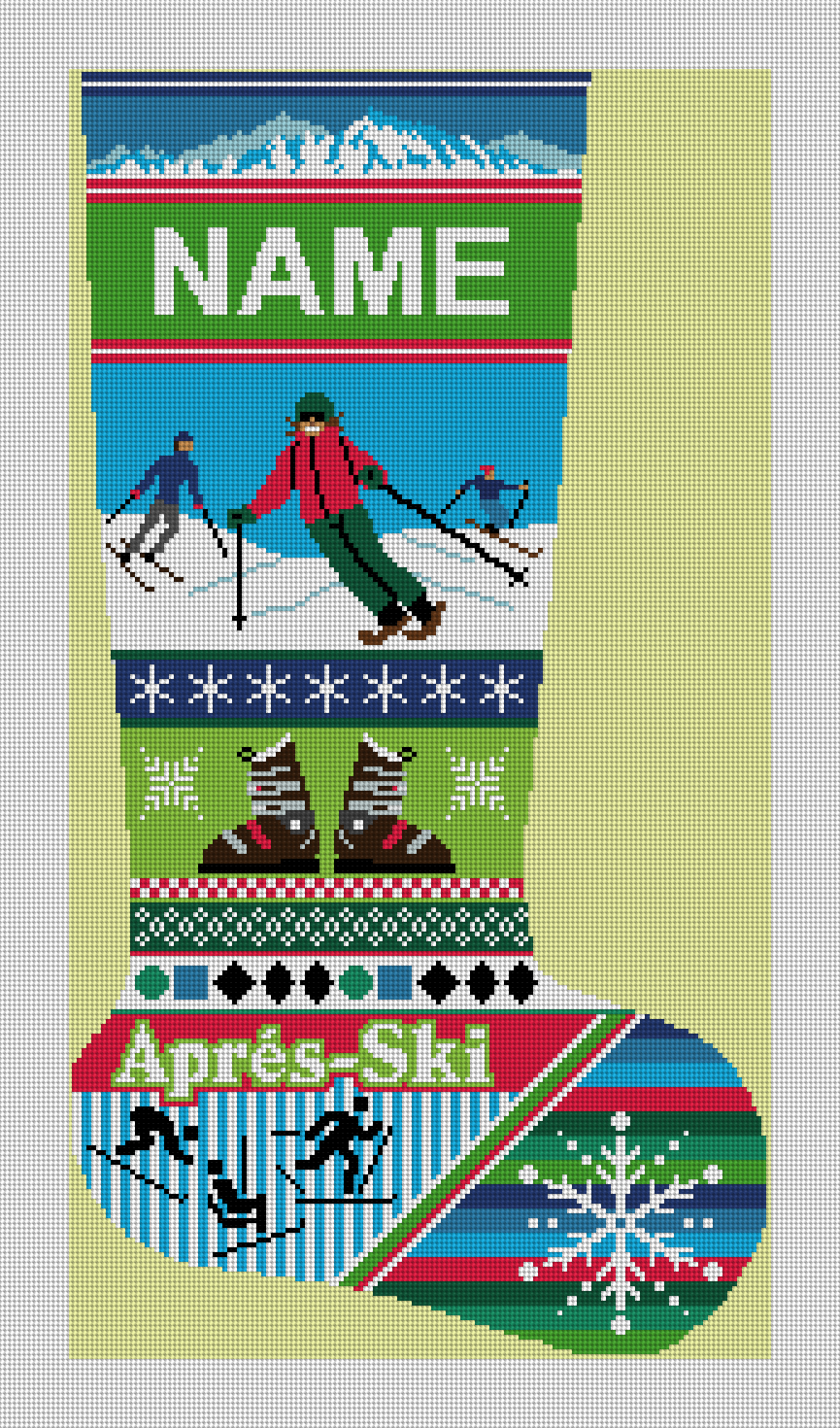Winter Ski Christmas Stocking Needlepoint Kit