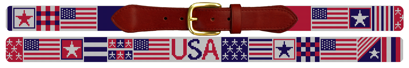 4th of July American Flag Needlepoint Belt