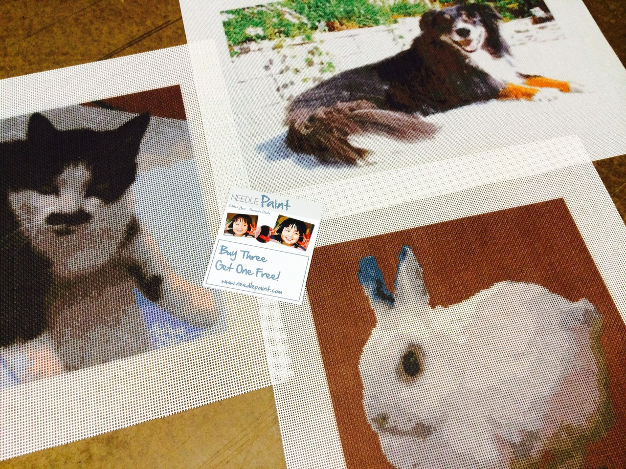 Dog Cat and Rabbit Needlepoint
