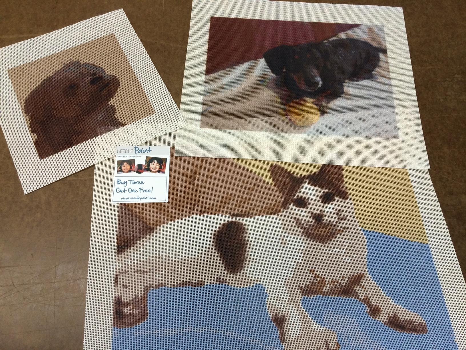 Dogs and Cat Custom Needlepoint