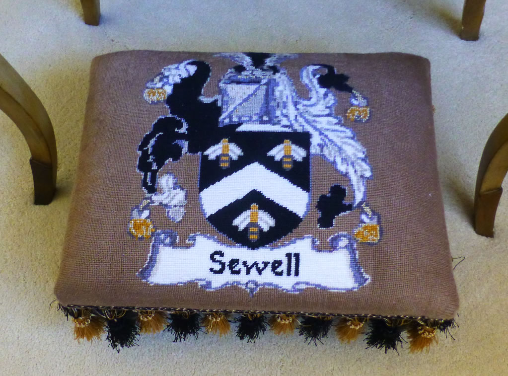 Needlepoint Foot Stool Crest