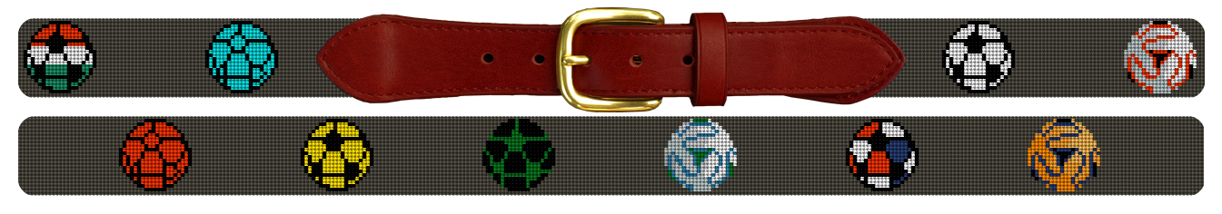 Colorful World Soccer Needlepoint Belt