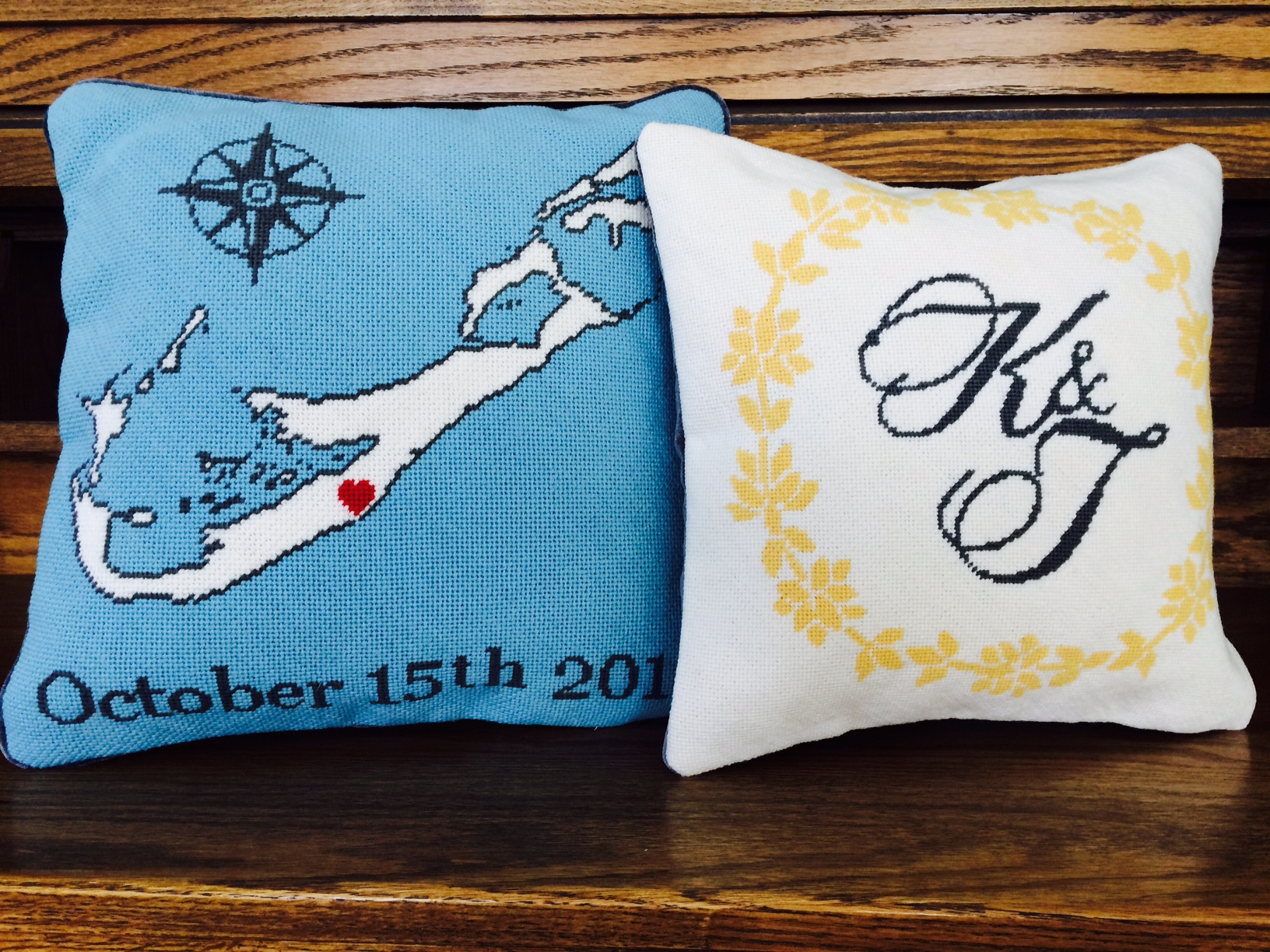 Bermuda Anniversary Gift Needlepoint Pillows