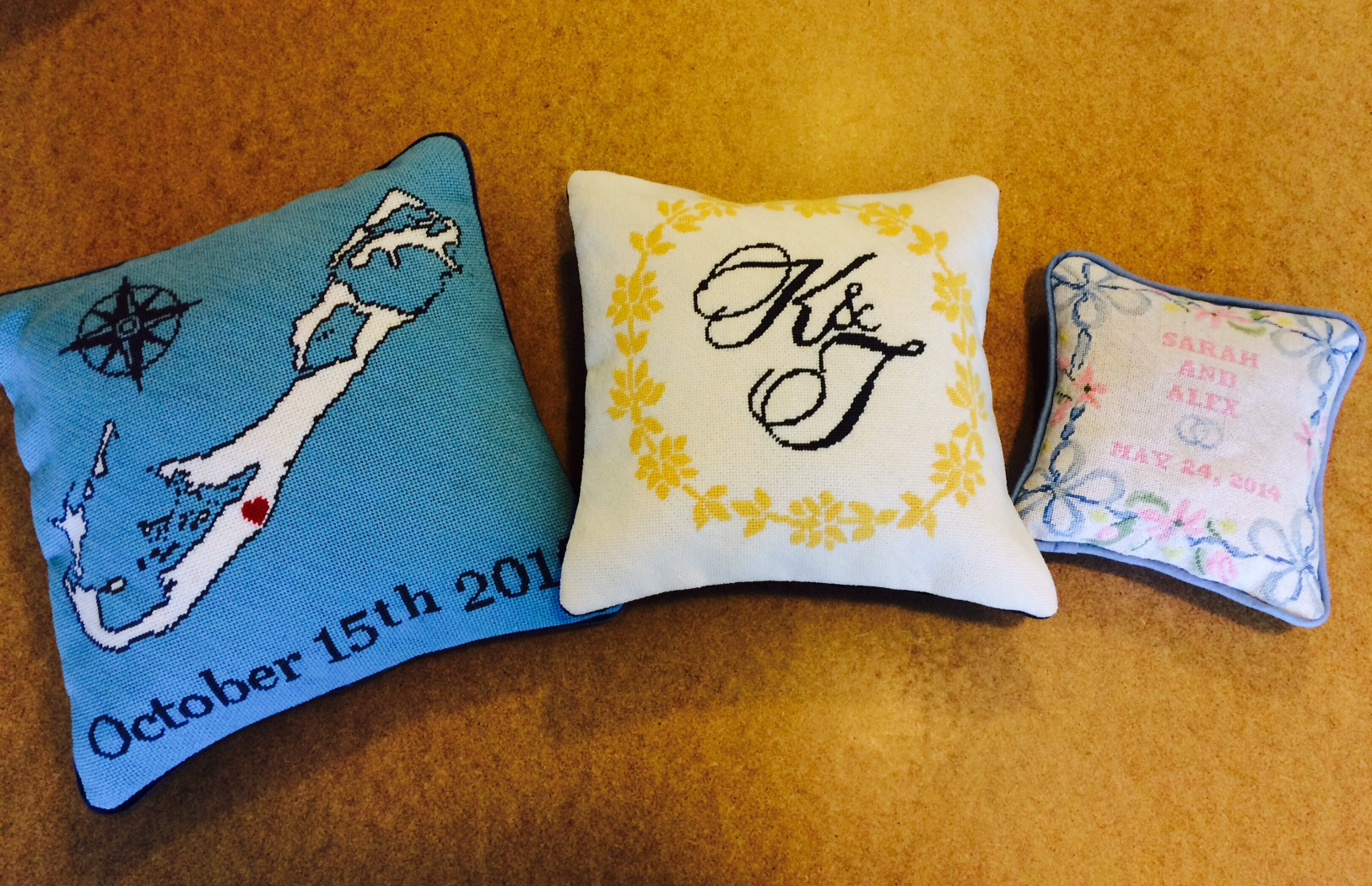 Custom Wedding Needlepoint Pillows