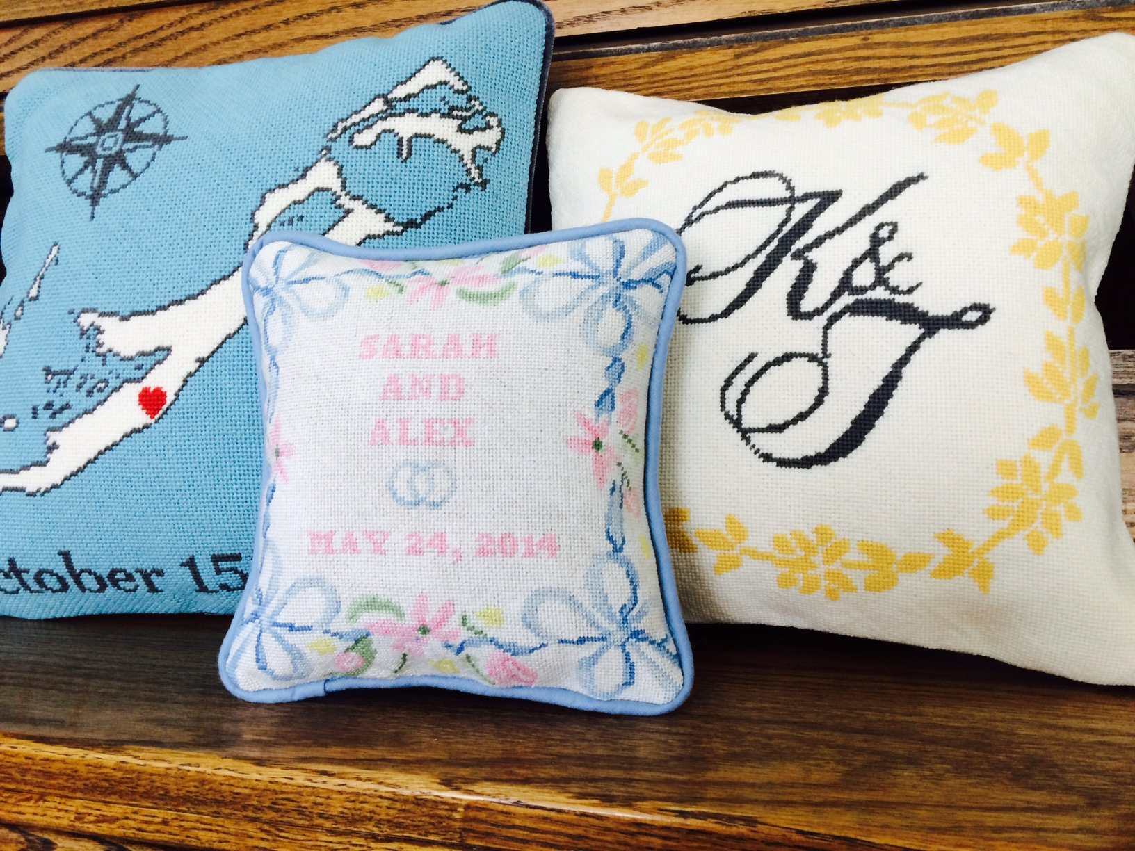 Wedding and Anniversary Gift Needlepoint Pillows