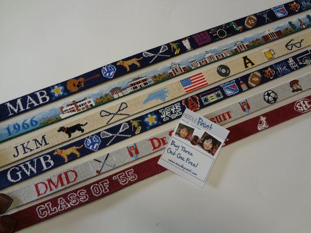 Custom Hand Stitched Needlepoint Belt