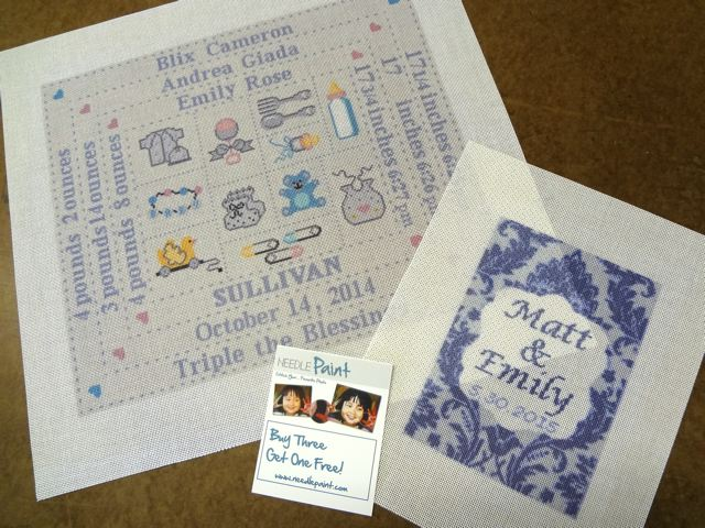 Needlepoint Baby Sampler and Ring Bearer Pillow