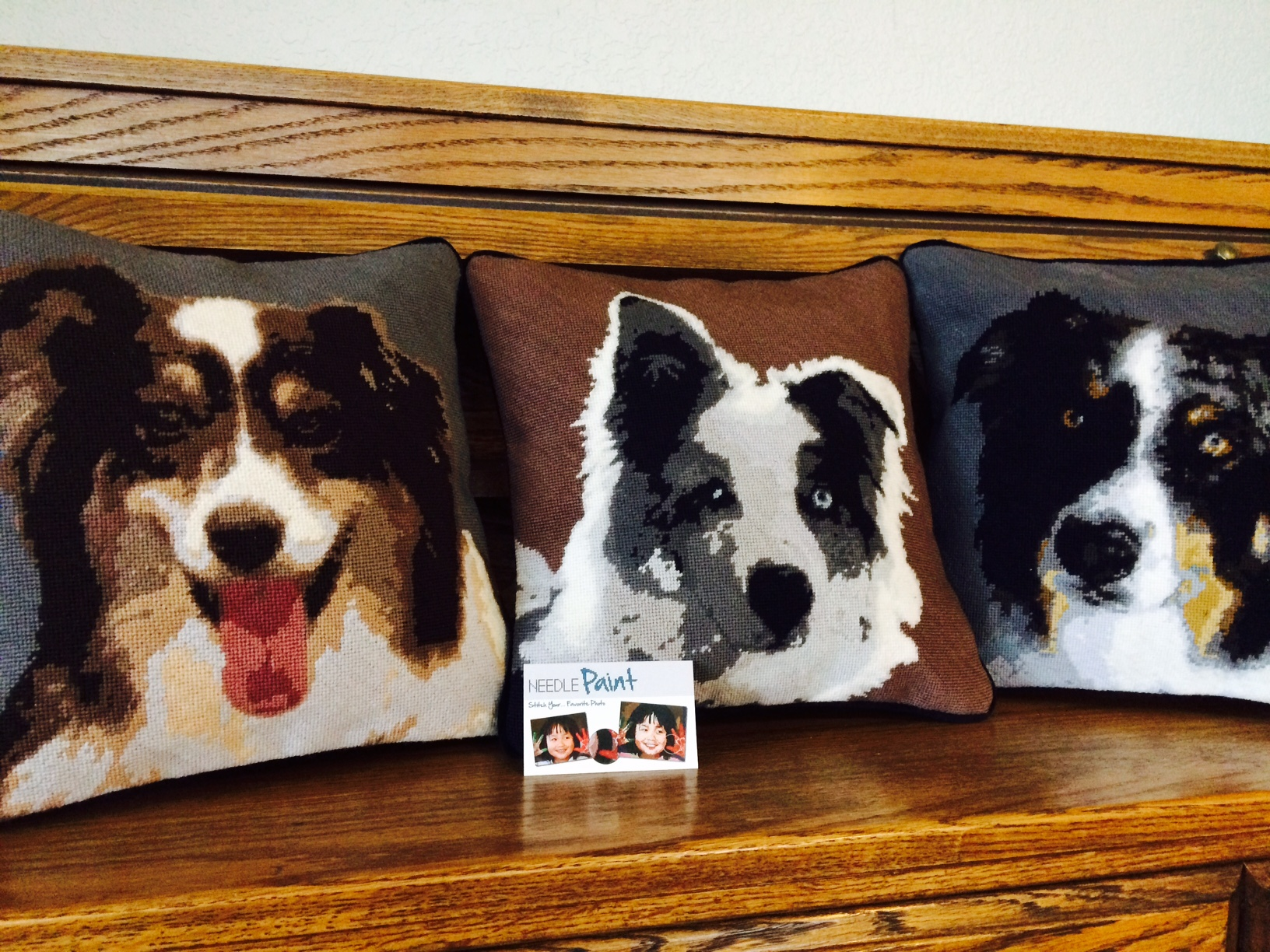 Custom Australian Shepherd Needlepoint Pillows