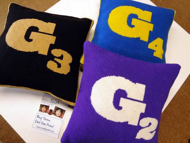 Custom College Needlepoint Pillows