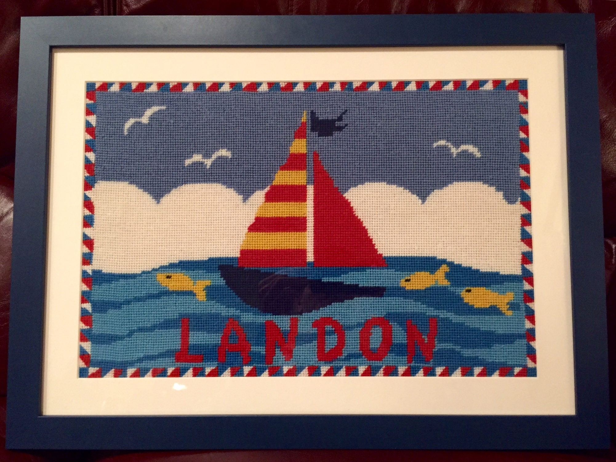 Kids Sailboat Custom Needlepoint Project