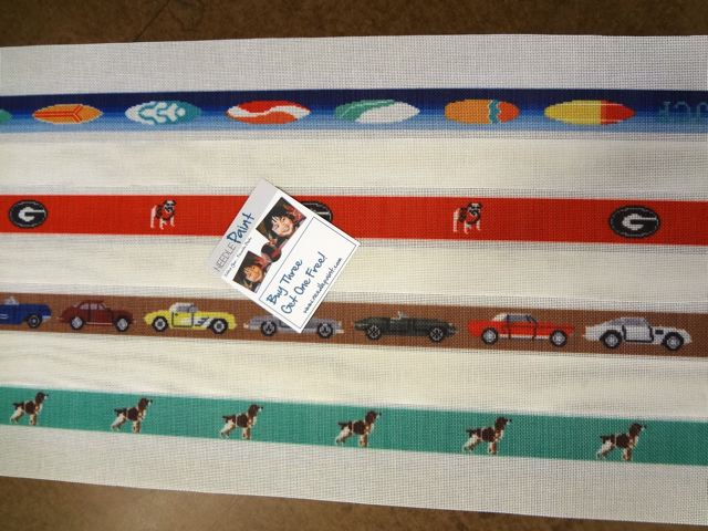 Classic Cars - Surfing - Georgia - Dog Needlepoint Belts