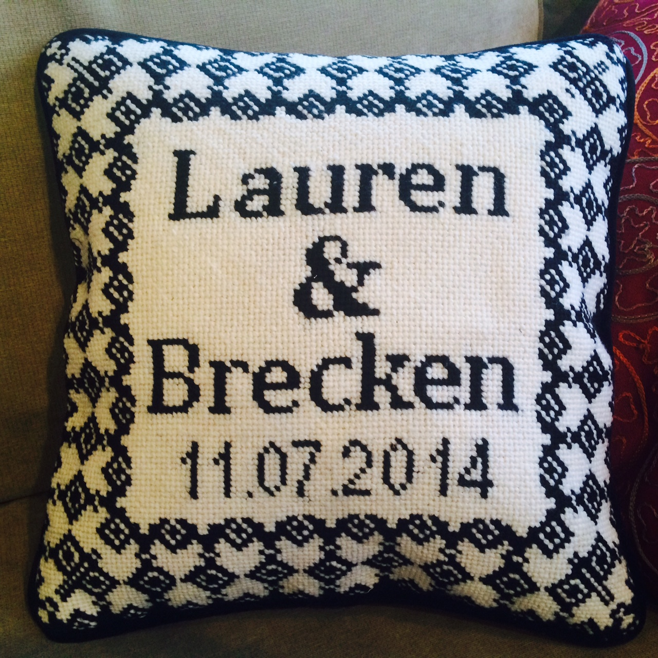 Custom Wedding Needlepoint Pillow